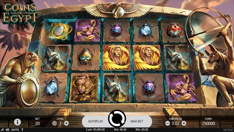 NetEnt'in Coins of Egypt Slot Oyunu Artık Sizlerle